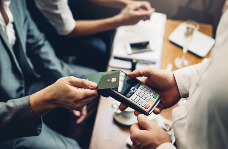 a credit card transaction in progress